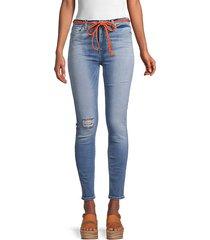 tie-belt skinny ankle jeans