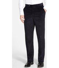 men's berle flat front classic fit corduroy trousers, size 32 x unhemmed - blue