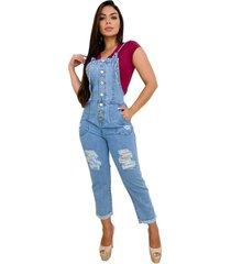 macacã£o jardineira jeans longa - ewf jeans - destroyed estilo retrã´ - azul - feminino - dafiti
