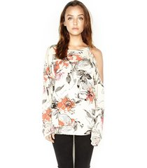 buck one shoulder open pullover - l vanilla flower