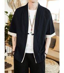 hombres verano casual soft retro estilo japonés botón liso abrigo frontal cárdigan