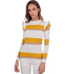 blusa myah antonieta mostarda em tricô