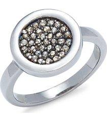 black rhodium-plated sterling silver & diamond circle ring