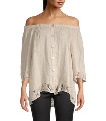 saks fifth avenue women's off-the-shoulder linen top - beige - size m