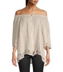 tempo, paris women's off-the-shoulder linen top - beige - size m