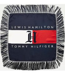 tommy hilfiger women's lewis hamilton fringed silk scarf red/white/blue -