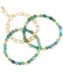 lucky brand gold-tone 3-pc. set link & stone beaded bracelets