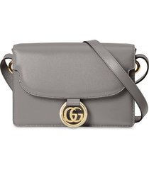 gucci double g pendant shoulder bag - grey