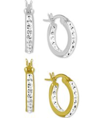 """essentials 2-pc. set small crystal hoop earrings in fine silver-plate & gold-plate, 0.65"""""""