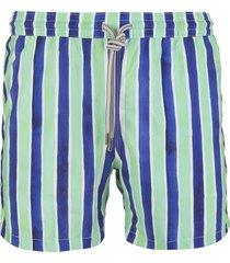 capri code blue and aquamarine striped swimsuit