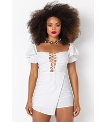 akira good times romper skort with front lace up