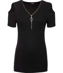 maglia a costine con zip (nero) - bodyflirt