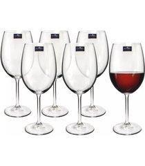 conjunto de 6 taças para vinho bordeaux roberta 540ml bohemia
