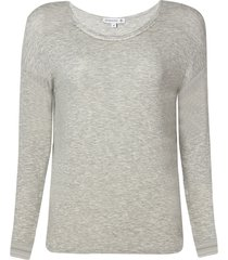 blusa dudalina manga longa decote careca termocolante gola feminina (cinza mescla claro, gg)