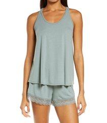 women's flora nikrooz stephanie knit short pajamas, size x-large - green