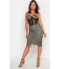 bandeau corset detail mesh midi dress, black