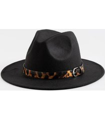 earlisha leopard band panama hat - black