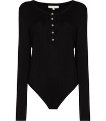 usisi sister fine-knit buttoned bodysuit - black