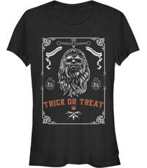 fifth sun star wars women's chewbacca trick or treat poster short sleeve tee shirt