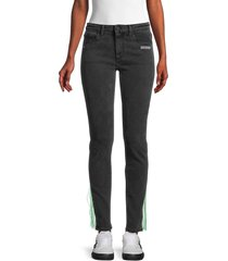 off-white women's thread-trim skinny jeans - grey - size 26 (2-4)