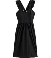 klänning med axelband med volang