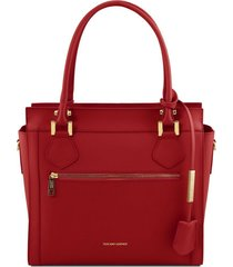 tuscany leather tl141644 lara - borsa a mano in pelle con zip frontale rosso