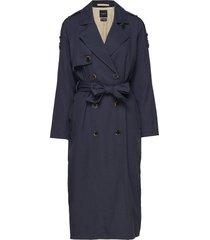 slfbren ls trench coat b trenchcoat lange jas blauw selected femme