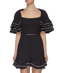 """""""affinity' square neck ruffle sleeve contrast topstitch crop top"""