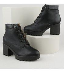 bota coturno feminina vizzano cano curto salto médio preta