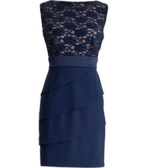 connected lace-top sheath dress