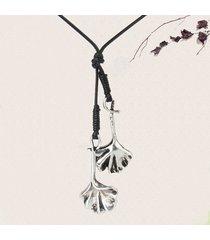 vintage gingko double leaves collane con ciondolo a mano lunga collana di gioielli regalo per le donne
