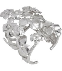 hammered metal cuff, silver bracelet, women's, josie natori
