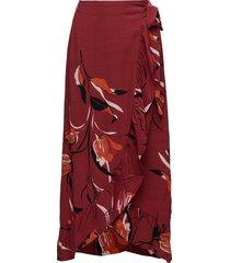 sille long skirt ao18 knälång kjol röd gestuz