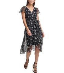 dkny printed flutter-sleeve wrap dress