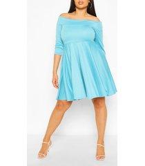 plus 3/4 sleeve skater dress, turquoise
