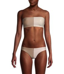 pq women's colorblock bandeau bikini top - sandstone - size l