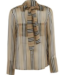 burberry bow-tie detail striped blouse