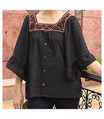 cotton blouse, 'ruffled black charm' (thailand)