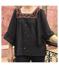 cotton blouse, 'ruffled black charm' (thailand)