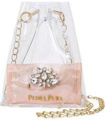 bolsa pedra pura cristal transparente feminina
