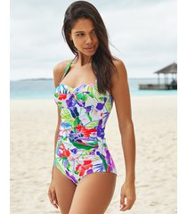 santa monica underwire halter boyleg tummy control one-piece swimsuit
