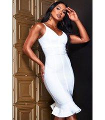 contour bandage frill hem midi dress, white
