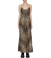 animal print stretch silk satin dress
