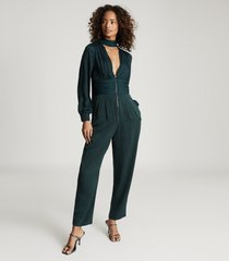 reiss kinley - plunge v-neck jumpsuit in green, womens, size 12