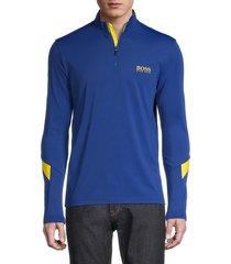 boss hugo boss men's logo quarter zip regular-fit sweater - blue - size l
