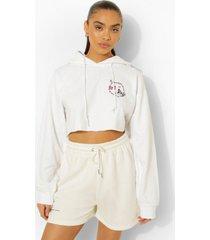korte vlinder hoodie met borstopdruk, white
