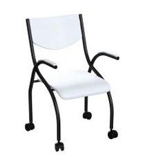cadeira de escritório secretária colorado estofada preta e branca