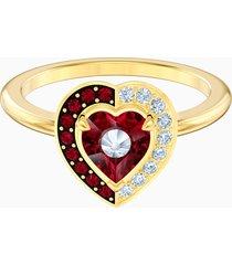anello con motivo black baroque, rosso, placcato oro