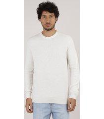 suéter masculino em tricô off white