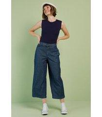 calça jeans pantacourt com cinto azul medio/gg